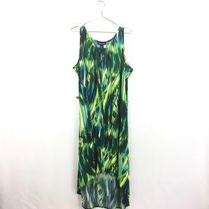 Ashley Stewart 22/24 Dress Green Maxi Keyhole Neck